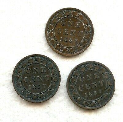 Canada  ~ 1887 ~ Large Cent Lot ~ Vf ~ 3 Coins