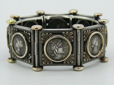 Antique Sterling Silver & 14k Yellow Gold Roman Coin Hinged Bangle Bracelet