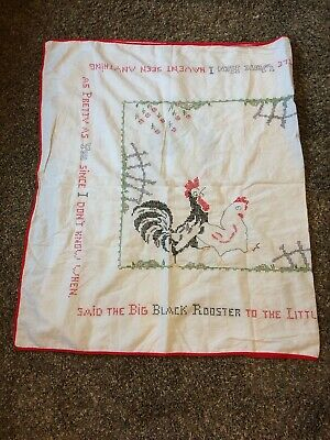 Vintage  Cross Stitch Tablecloth Rooster Hen  60x37