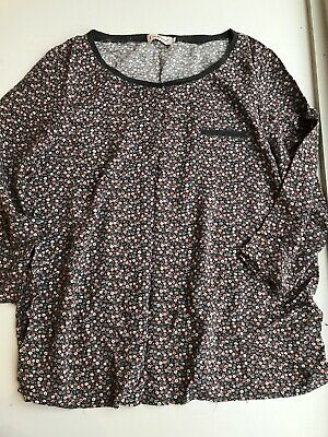 cath kidston Grey Blue Pink Floral Long Sleeve Round Neck Top Size 12
