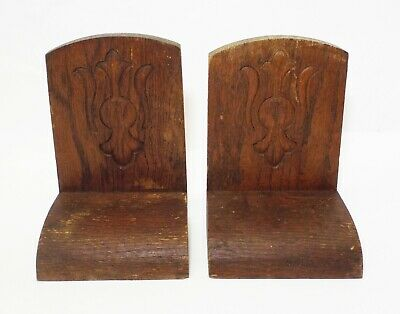 Old Antique PRESSED OAK Ornate Design Wood Hand Crafted BOOKENDS