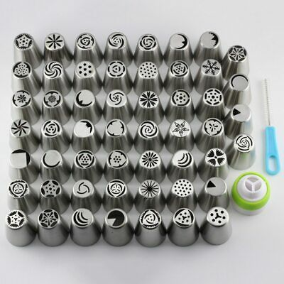 Mujiang 55 Pcs / Set Stainless Steel Russian Tulip Icing Piping Nozzles Pastry