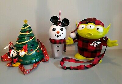 Disney Parks Christmas Popcorn Buckets And Drink Cup Light Up Mickey Tree Alien