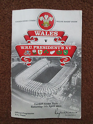 Wales v  WRU President's XV Rugby Union Programme, 1984 - Cardiff Arms Park