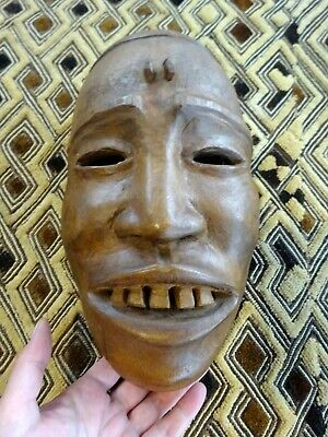A Vtg Decorative Well carved Ethnic Wooden Tribal Laughing Mask IV