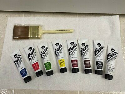 "Vintage BOB ROSS 2"" Paintbrush NEW and 8 Tubes Oil Color Paints"