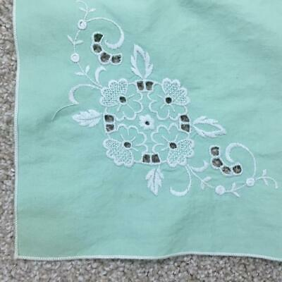 "Vintage linen tablecloth 4 napkins 32"" square luncheon size green embroidered"
