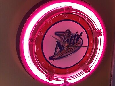 Natural Light Natty Beer Bar Advertising Man Cave Neon Wall Clock Sign