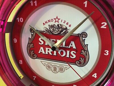Stella Artois Beer Bar Advertising Man Cave Neon Wall Clock Sign