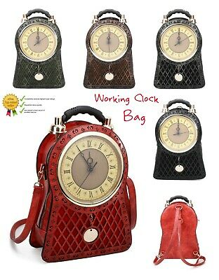 New Women's Vintage Style Clock Faux Leather Hand Bag/Backpack//Novelty Gift Bag