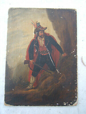 french spanish soldier conquistador painting 18th 19th century antique vtg old