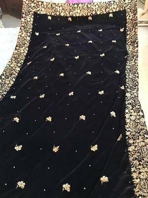 pakistani indian velvet shawl dupatta Embroidery Bollywood Bridal Scarf