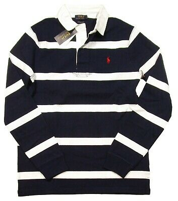 Special! Polo Ralph Lauren Navy/White Stripe Custom Slim Fit Rugby Polo Shirt