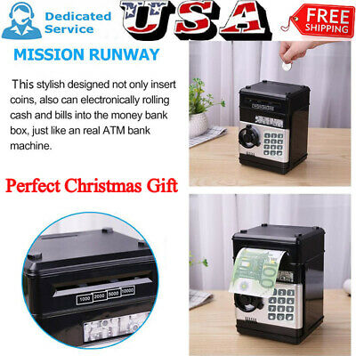 Electronic Piggy Bank Password Coin Saving Money Box Children Safe ATM Toy Black