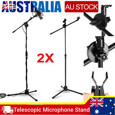 2X Telescopic Boom Microphone Floor Stand Adjustable Mic Holder Tripod 1-2m AU