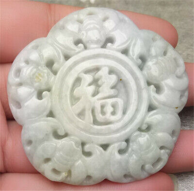 Certified Light Green Natural A Jade Jadeite Hand-Carved 5 Bat Blessing Pendant