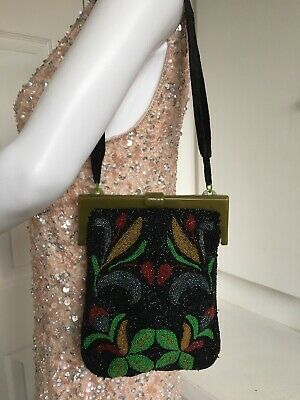 Vtg 1950s Bakelite Frame Art Deco Beaded Flapper Evening Purse Grab Bag