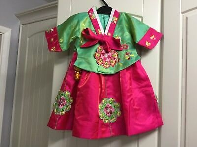 Bnwot Unworn Girl's Chinese Embroidered Dress And Jacket Outfit.  About 2 Years.