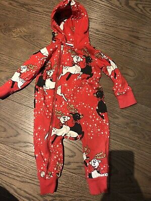 Mini Rodini Reindeer Christmas Print Hooded One Piece PERFECT Condition