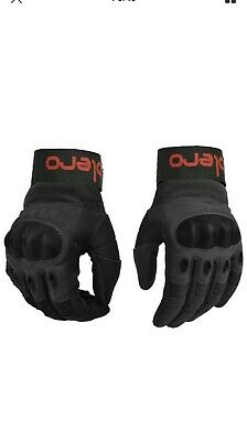 "ISLERO Leather All Weather Motorbike Motorcycle Gloves Carbon Fiber Knuckle  ""Sm"