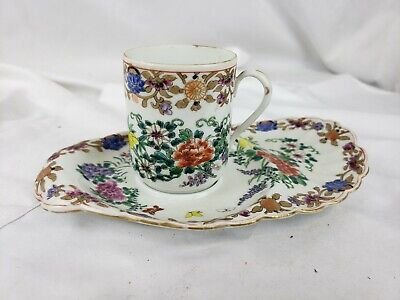 Excellent unusual antique chinese tea cup saucer set, signed