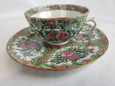 Excellent detailed antique chinese famille rose tea cup and saucer set