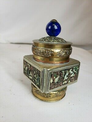 Great antique chinese brass / bronze /  enamel box ca. 1930, part of collection
