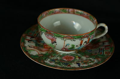 Excellent Antique Chinese Famille Rose Tea Cup / Saucer  [Y8-W7-A9]