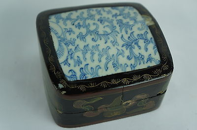 Superb Vintage / antique Chinese papier mache / porcelain box [Y7-W6-A9]