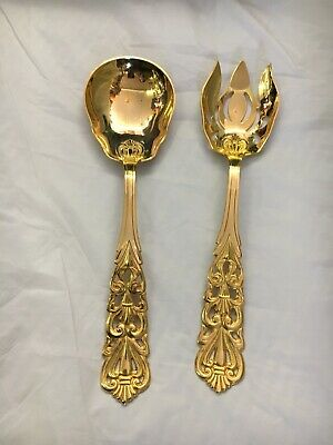 Gold Plated Serving Fork And Spoon
