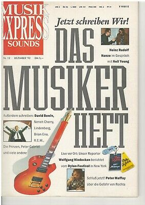 Musik Express Sounds 12 1992 David Bowie Peter Maffay Neil Young Sven Väth