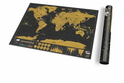 Genuine Luckies Deluxe Scratch Map Personalised World Map Poster Travel Edition