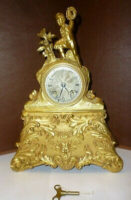 Very Nice Small Antique Ormolu Silk Suspension Mantle Clock With Silvered Dial