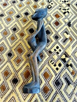 A Vtg Unusual Decorative Well carved Ethnic Wooden Tribal Drummer Figure