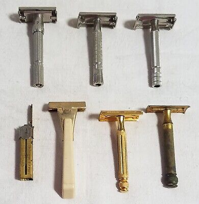 Lot 6 Vintage Safety Razors-Schick-Gillette-Adjustable-Double Edge-3 Piece-Brass