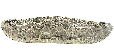 AMERICAN BRILLIANT CUT GLASS Relish Celery Dish Tray Antique Oval Crystal