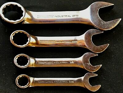 Rare 4 Stubby Craftsman Industrial Wrenches Satin Finish Made In Usa