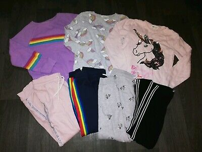 Gorgeous Girls Next & H&M Bundle 8-9-10 Years Side Tape Joggers/Unicorn/Rainbows