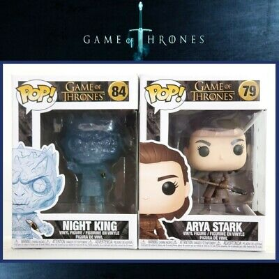 Funko Pop CRYSTAL NIGHT KING w/ Dagger #84 & ARYA STARK w/Spear SET~MINT/IN-HAND