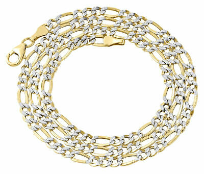 1/10th 10K Yellow Gold Diamond Cut Figaro Link Chain Necklace 3.30mm 16- 24 Inch