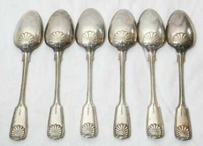 Super Antique Shell & Fiddle Pattern Silver Plate Serving Spoon x 6 Dixon? #2