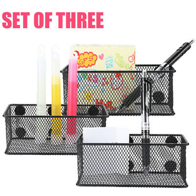3PCS Heavy Duty Wire Mesh Magnetic Storage Basket Office Supply Organize Ruler