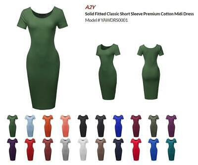 Solid Fitted Classic Short Sleeve Premium Cotton Midi Dress