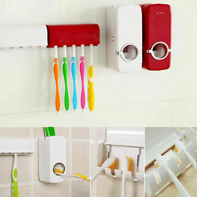 Home Automatic Toothpaste Dispenser Toothbrush Holder Set Wall Mount Stand US