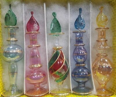 Lot of 10 Egyptian handmade Mouth Blown Perfume Bottles Pyrex Glass medium size