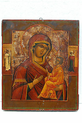 "Antique 19c RUSSIAN ORTHODOX ICON ""Mother of God Tikhvinskaya"""