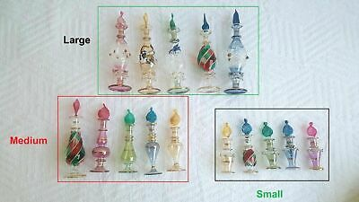 Lot of 10 Egyptian handmade Mouth Blown Perfume Bottles Pyrex Glass small size