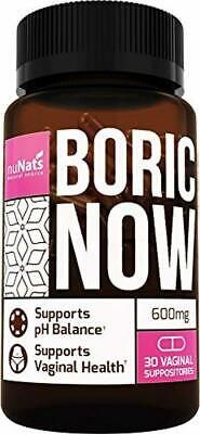 NuNats Boric Acid Vaginal Suppositories | 600mg, 30 Count | Yeast Infection Trea