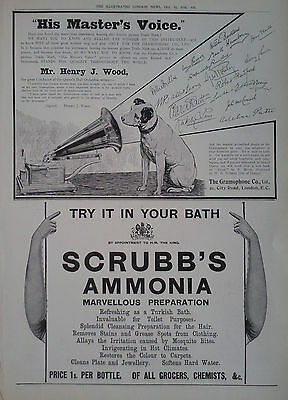 1910 ADVERT THE GRAMOPHONE CO LTD-SCRUBB'S AMMONIA-GOLDSMITHS & SILVERSMITHS Co