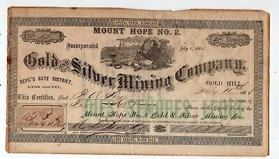 1864 Mount Hope No. 2 Gold & Silver Mining Company Stock Certificate